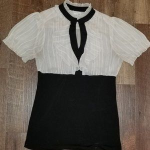 Charlotte Russe Large Black and White Blouse
